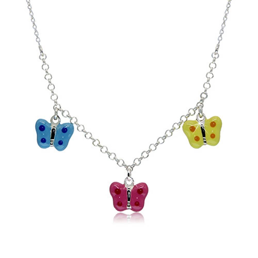 Šperky eshop Náhrdelník zo striebra 925 pre deti - bodkované motýliky s modrou, ružovou a žltou glazúrou