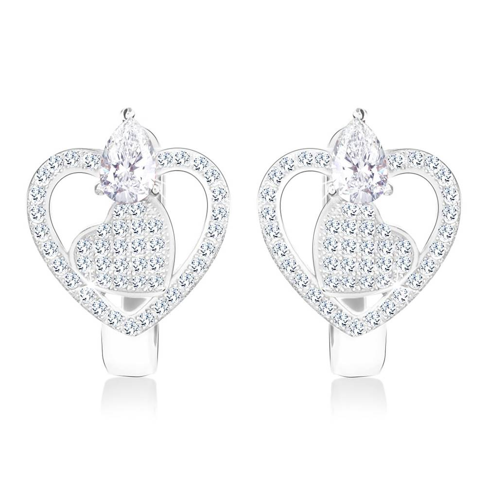 Šperky eshop Ródiované náušnice zo striebra 925 - obrys srdca a zirkónové srdiečko, zirkón v tvare kvapky