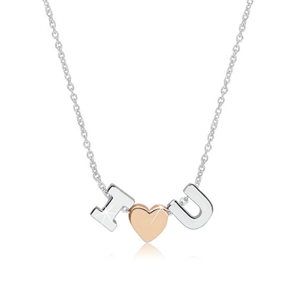 """Šperky eshop Ródiovaný náhrdelník zo striebra 925 - motív """"I love U"""" tvorený písmenami """"I"""" a """"U"""" a srdiečkom"""