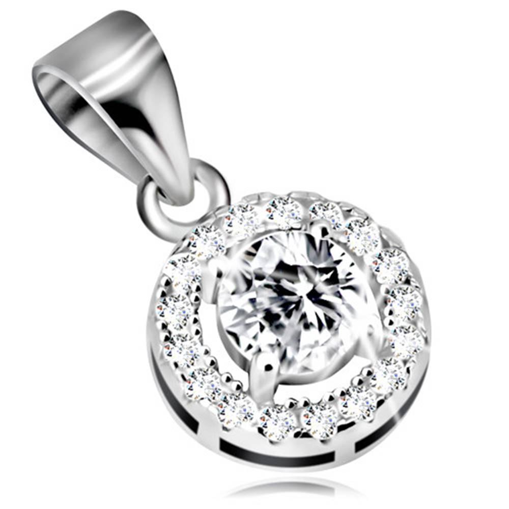 Šperky eshop Ródiovaný strieborný prívesok 925 - číry obrys kruhu s ligotavým zirkónom uprostred