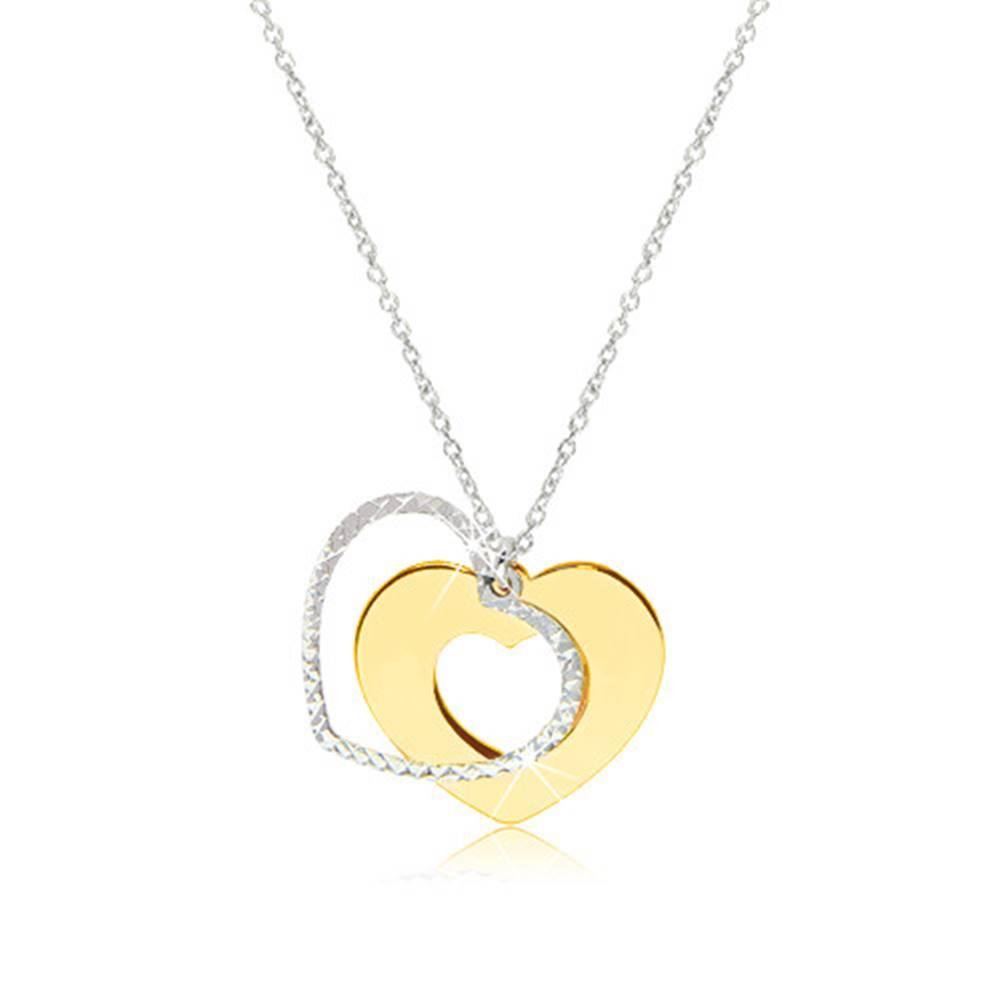 Šperky eshop Strieborný náhrdelník 925 - lesklé srdiečko zlatej farby s trblietavou kontúrou