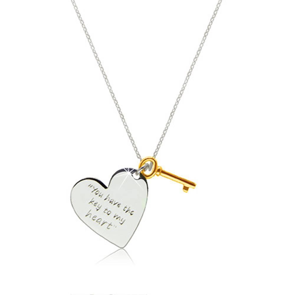 """Šperky eshop Strieborný náhrdelník 925 - srdce s nápisom """"You have the key to my heart"""", kľúčik zlatej farby"""