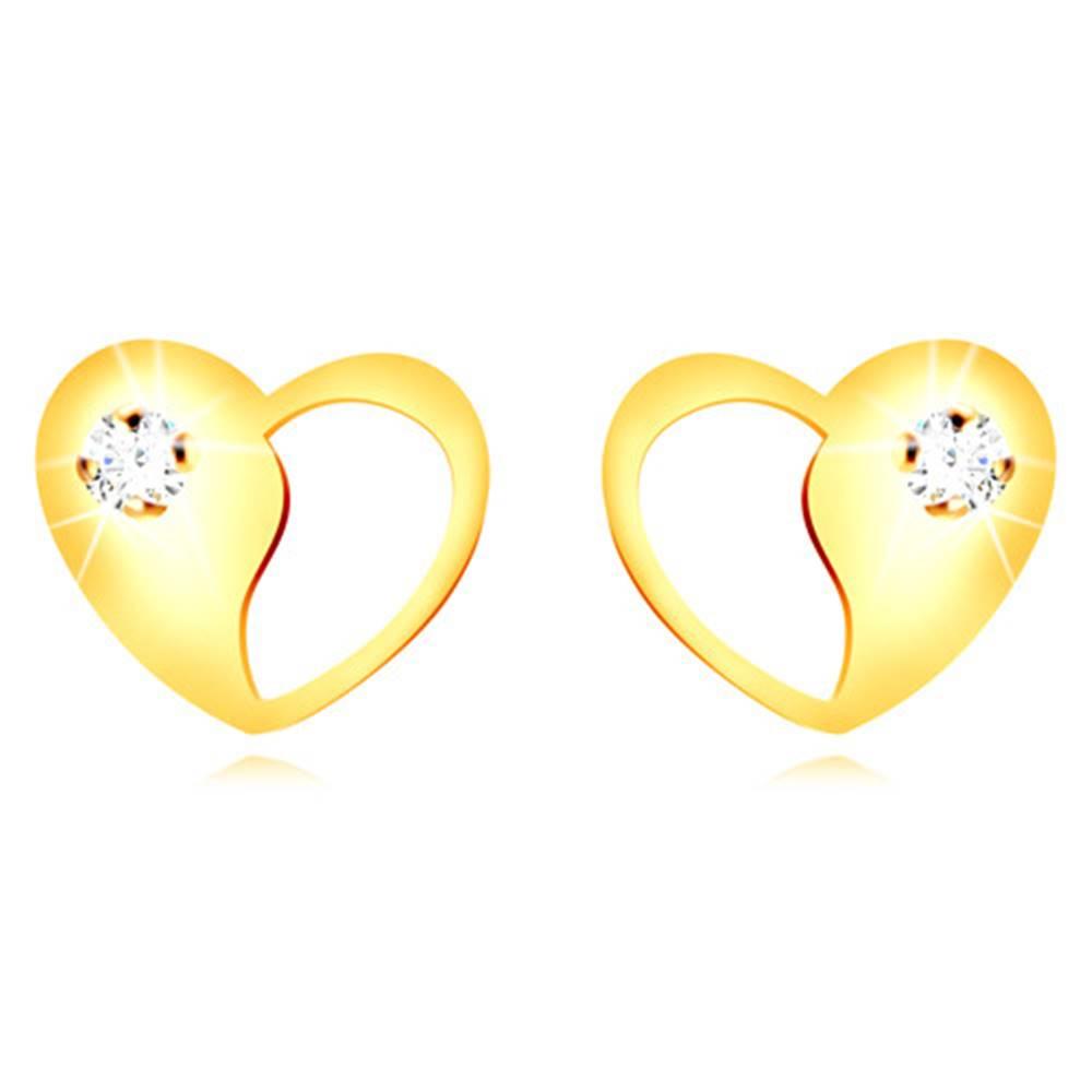 Šperky eshop Zlaté 9K náušnice - srdiečko s ozdobným výrezom a okrúhlym čírym zirkónom