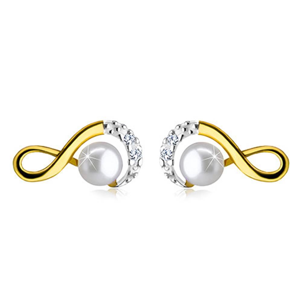 Šperky eshop Zlaté náušnice 585 - symbol nekonečna ozdobený zirkónikmi a okrúhlou perlou, puzetky