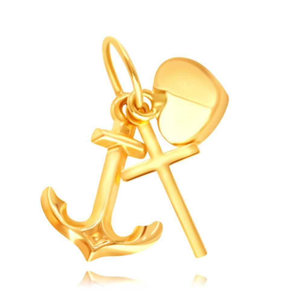 Šperky eshop Zlatý 14K prívesok - silueta lesklého krížiku, kotvičky a vypuklého srdiečka