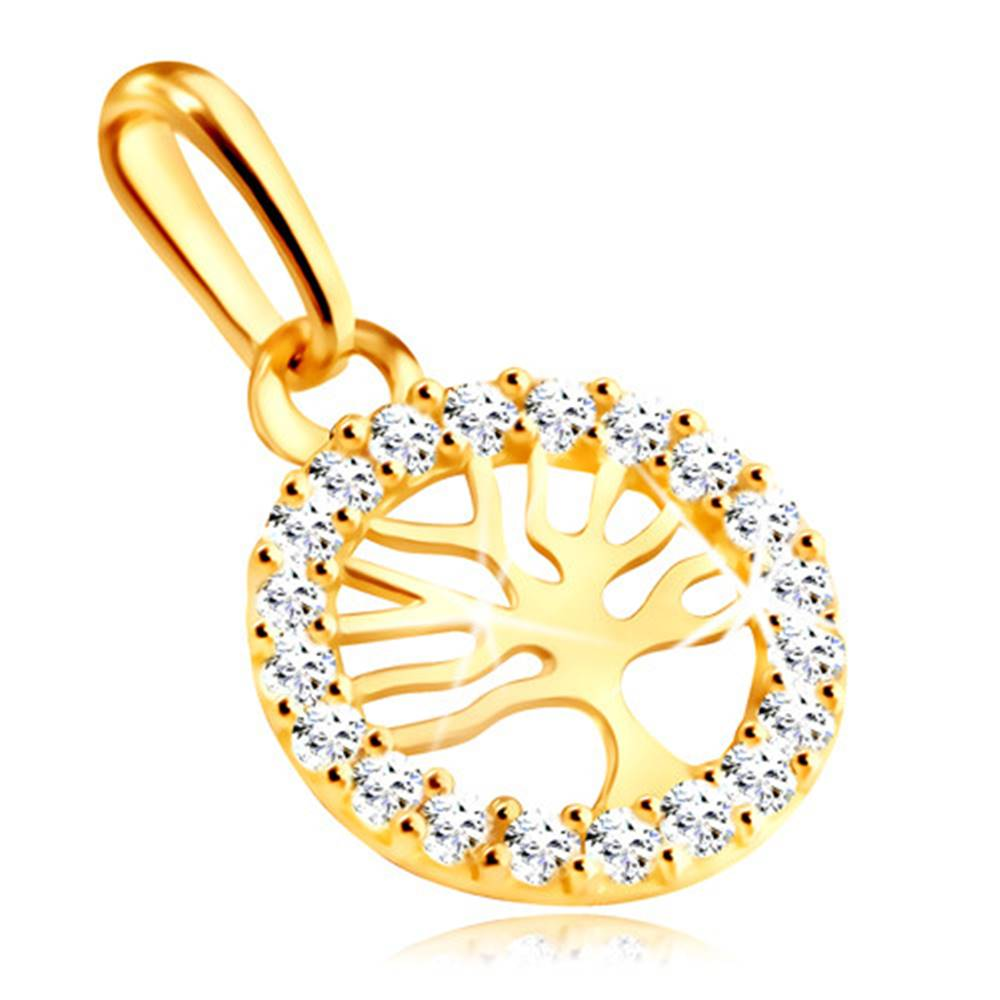 Šperky eshop Zlatý 9K prívesok - strom života v kruhu ozdobenom čírymi zirkónmi