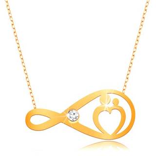 Zlatý náhrdelník 375 - jemná retiazka, symbol nekonečna s čírym zirkónom a srdcom
