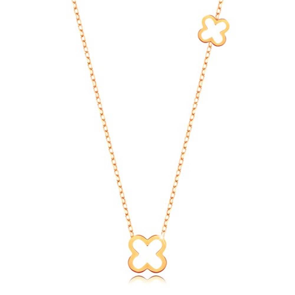 Šperky eshop Náhrdelník v žltom 9K zlate - tenká retiazka, dva obrysy štvorlístkov