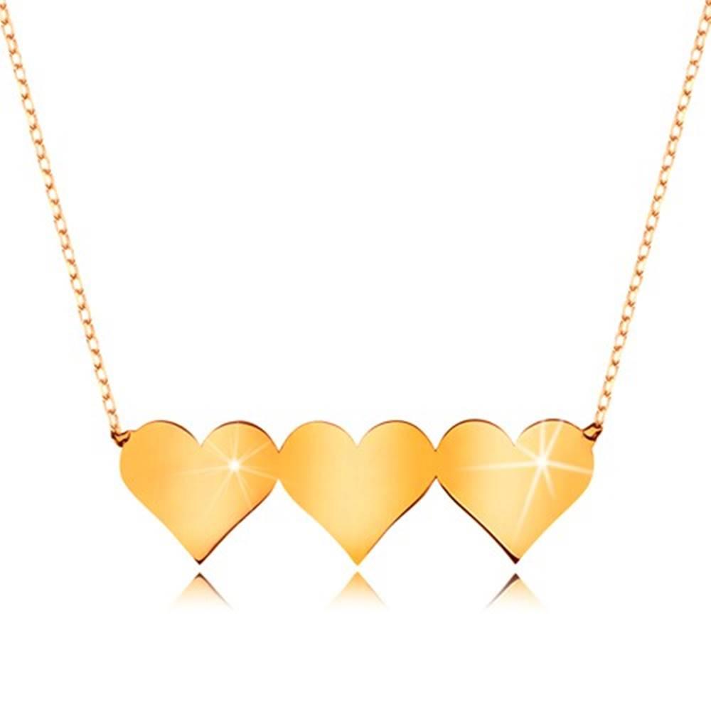Šperky eshop Náhrdelník v žltom 9K zlate - tri súmerné ploché srdiečka, jemná retiazka
