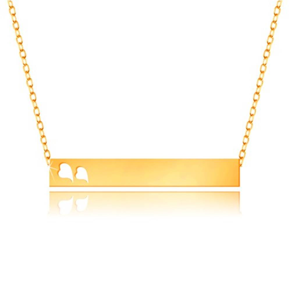 Šperky eshop Náhrdelník zo žltého 9K zlata - lesklý obdĺžnik, srdiečka, jemná retiazka