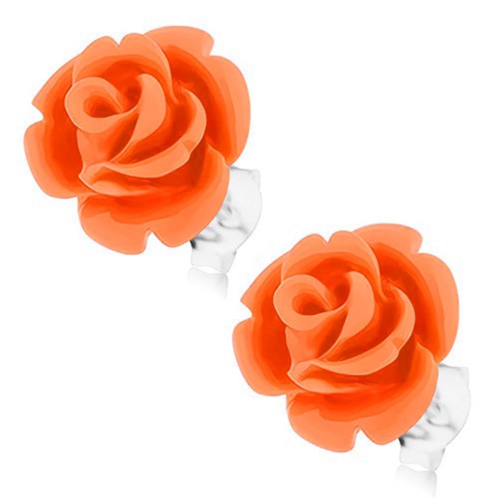 Šperky eshop Strieborné 925 náušnice, ruža v rozkvete, puzetové zapínanie