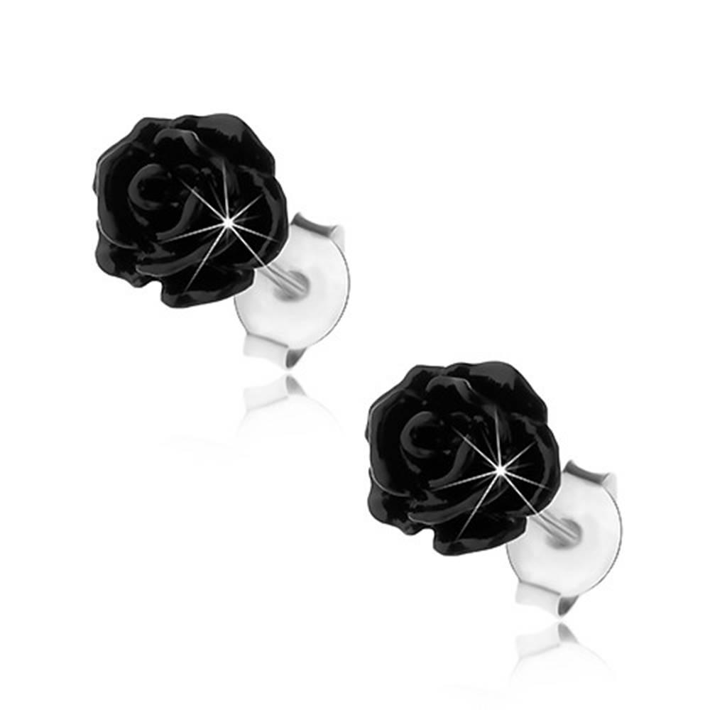 Šperky eshop Strieborné náušnice 925, lesklá rozkvitnutá ružička čiernej farby, puzetky