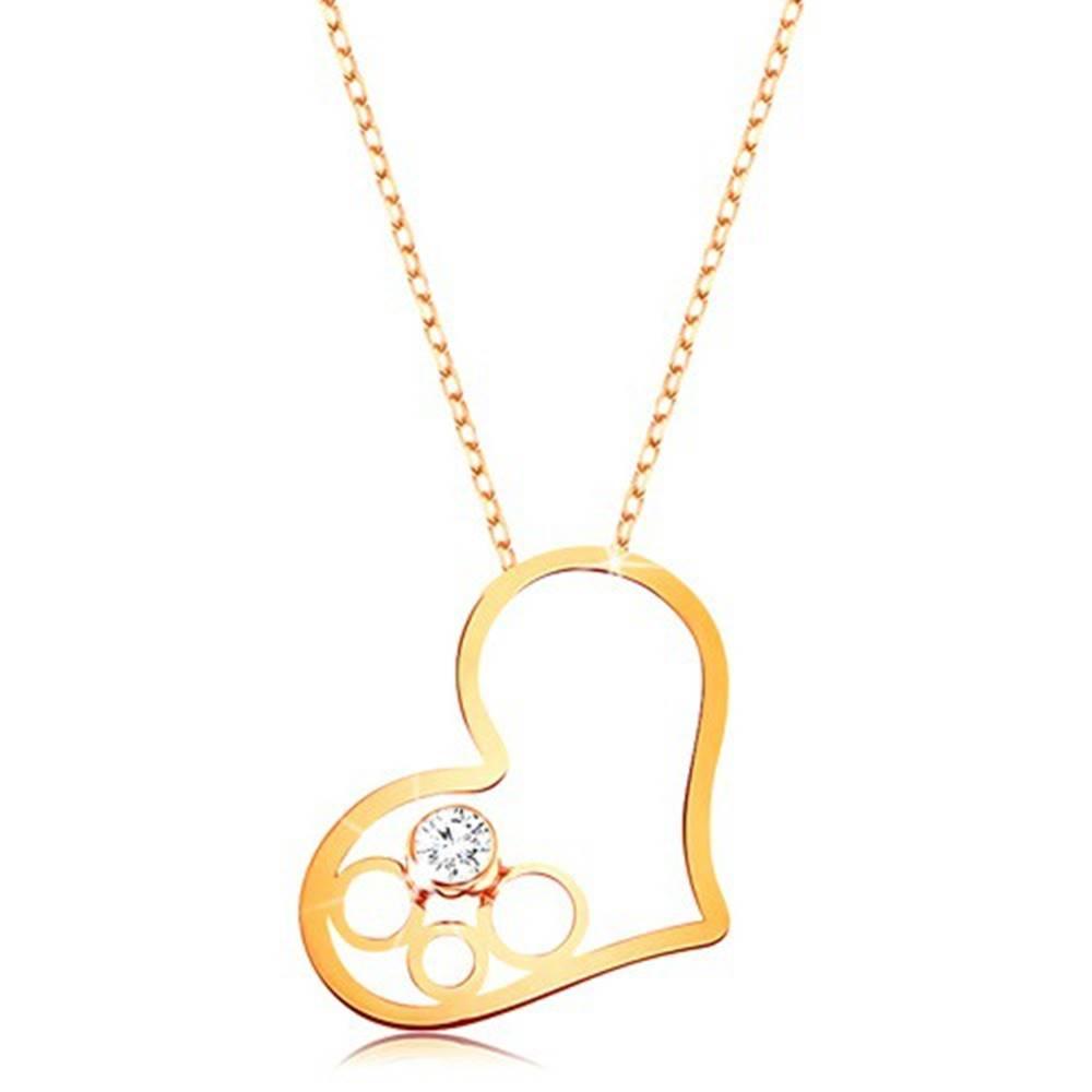 Šperky eshop Zlatý 9K náhrdelník - tenká retiazka, kontúra srdca s kruhmi a čírym zirkónom