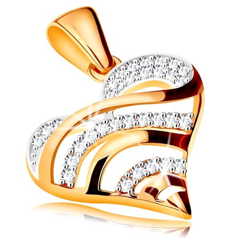 Šperky eshop Zlatý prívesok 585 - vypuklé srdce s lesklými a zirkónovými líniami