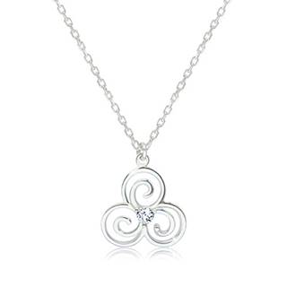 Lesklý náhrdelník zo striebra 925 - keltský symbol Triskelion s čírym zirkónikom