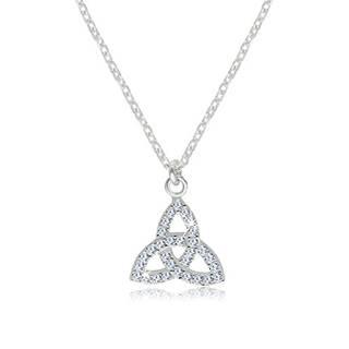 Strieborný 925 náhrdelník - číry zirkónový symbol Triquetra