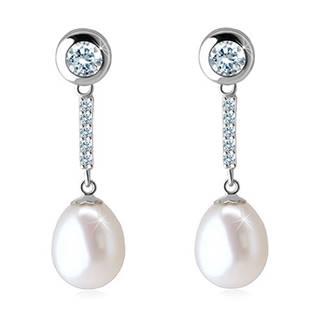 Visiace zlaté 14K náušnice - biela perla, zirkónová línia a číry zirkón v lesklej objímke