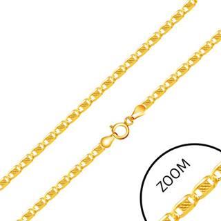 Zlatá 585 retiazka - lesklé články zdobené obdĺžnikom s mriežkou, 500 mm