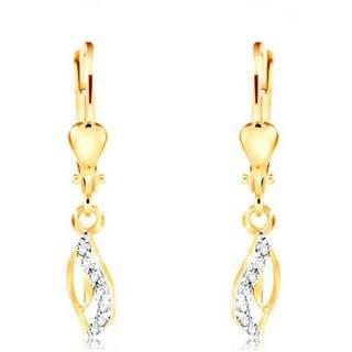 Zlaté 14K náušnice - tenký obrys slzy, zvlnená číra zirkónová línia