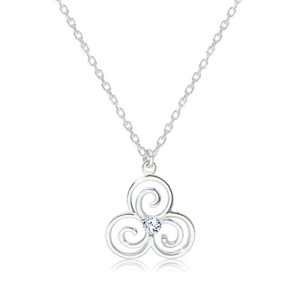 Šperky eshop Lesklý náhrdelník zo striebra 925 - keltský symbol Triskelion s čírym zirkónikom