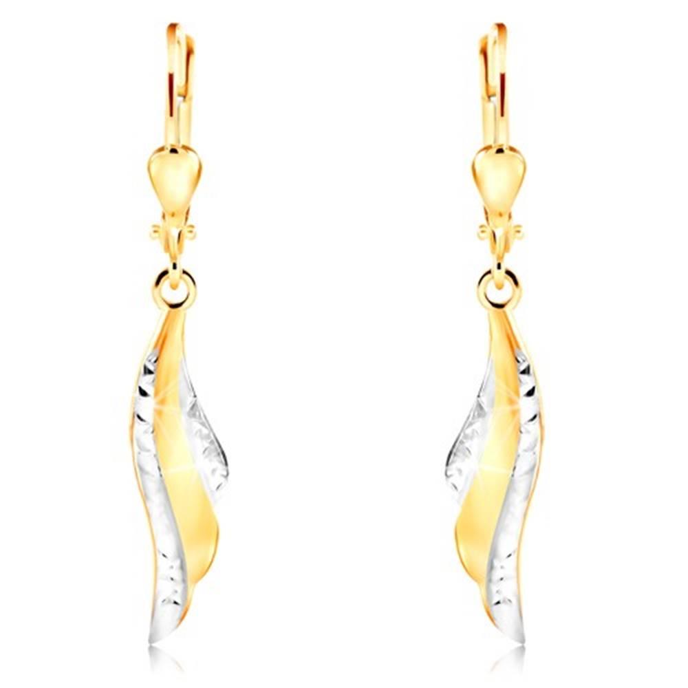 Šperky eshop Náušnice v 14K zlate - krídlo anjela s drobnými zárezmi a bielym zlatom