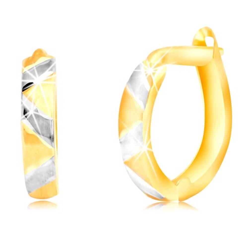 Šperky eshop Náušnice z kombinovaného 14K zlata s matným cik-cakovým vzorom