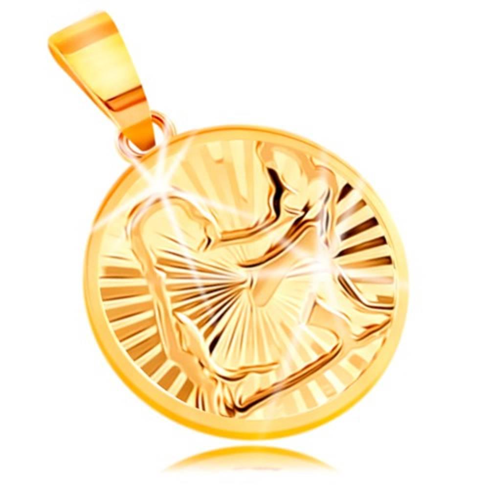 Šperky eshop Prívesok v žltom 14K zlate - kruh s ligotavými lúčovitými zárezmi - PANNA