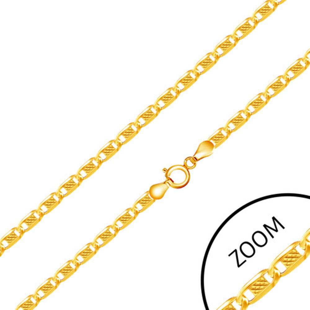 Šperky eshop Retiazka v zlate 585 - oválne články zdobené obdĺžnikom s mriežkovaným vzorom, 550 mm