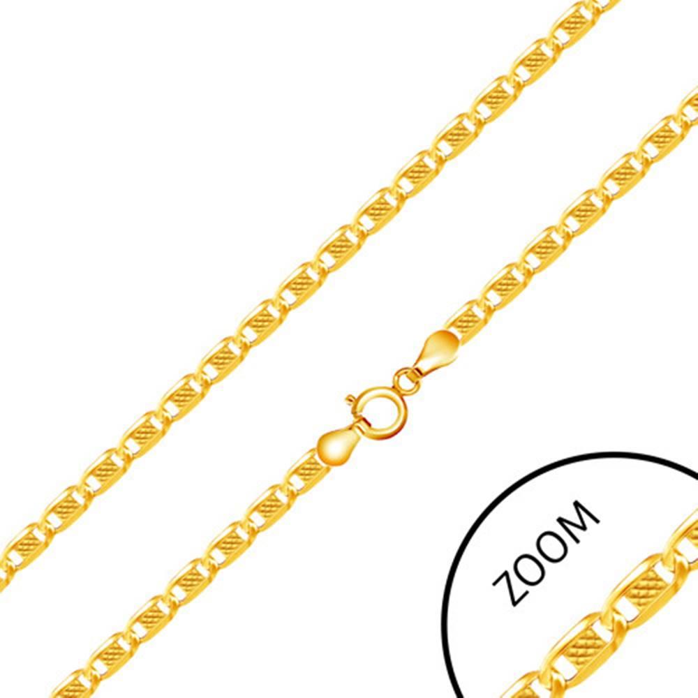 Šperky eshop Retiazka zo žltého 14K zlata - oválne články zdobené obdĺžnikom uprostred, 450 mm