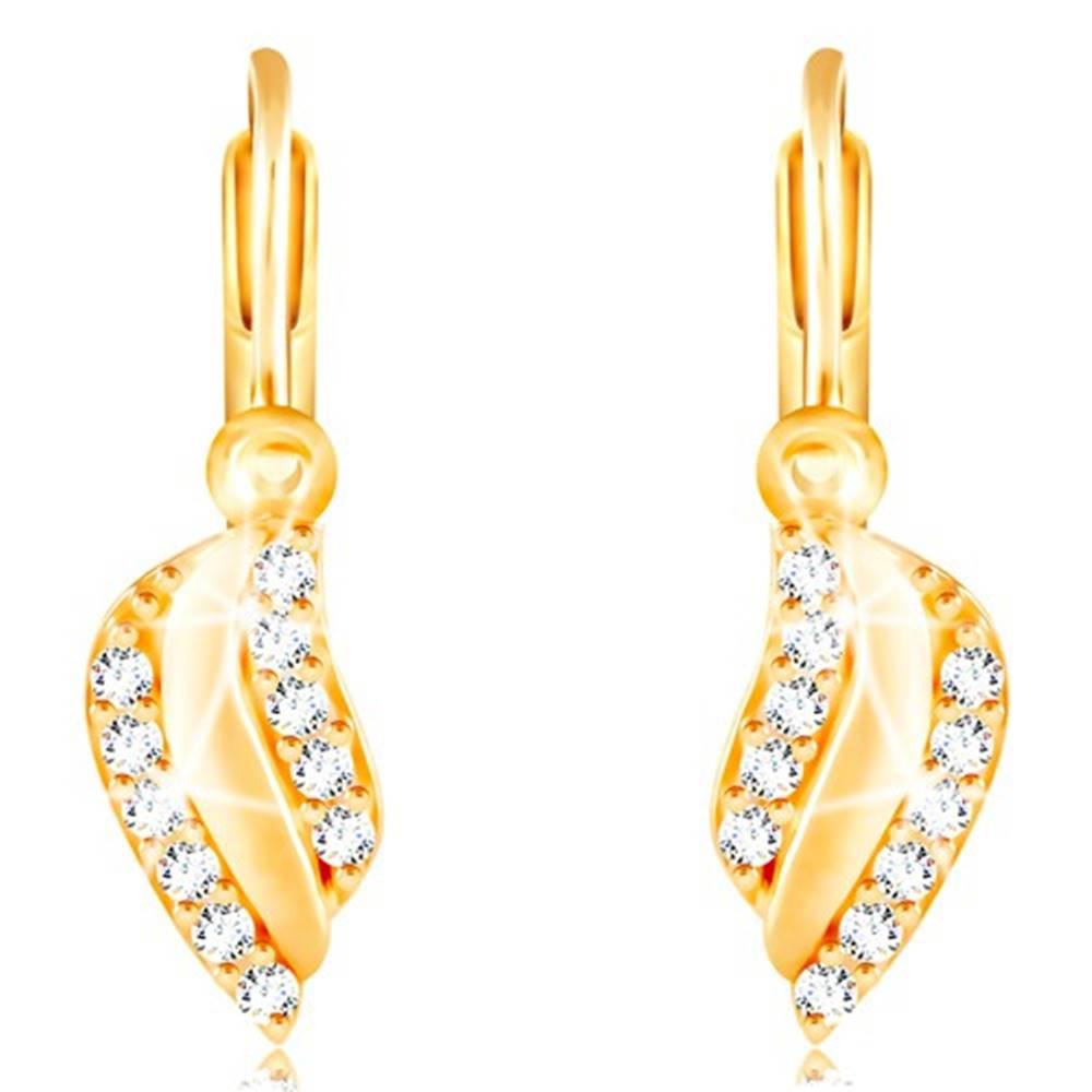 Šperky eshop Zlaté náušnice 585 - lesklý zvlnený list s líniami čírych zirkónikov