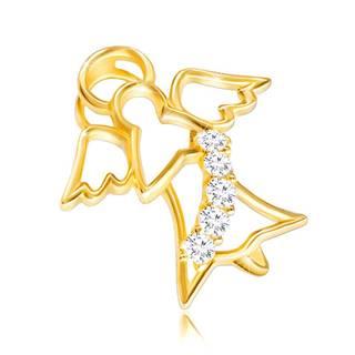 Lesklý zlatý 585 prívesok - kontúra anjela s vyrezávanými krídelkami a zirkónovým pásom