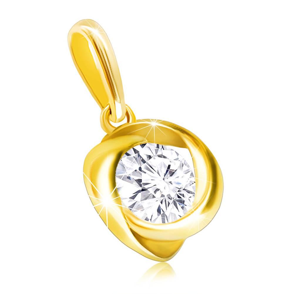 Šperky eshop Lesklý zlatý prívesok 585 - ligotavý okrúhly zirkón vo zvlnenej hladkej línii