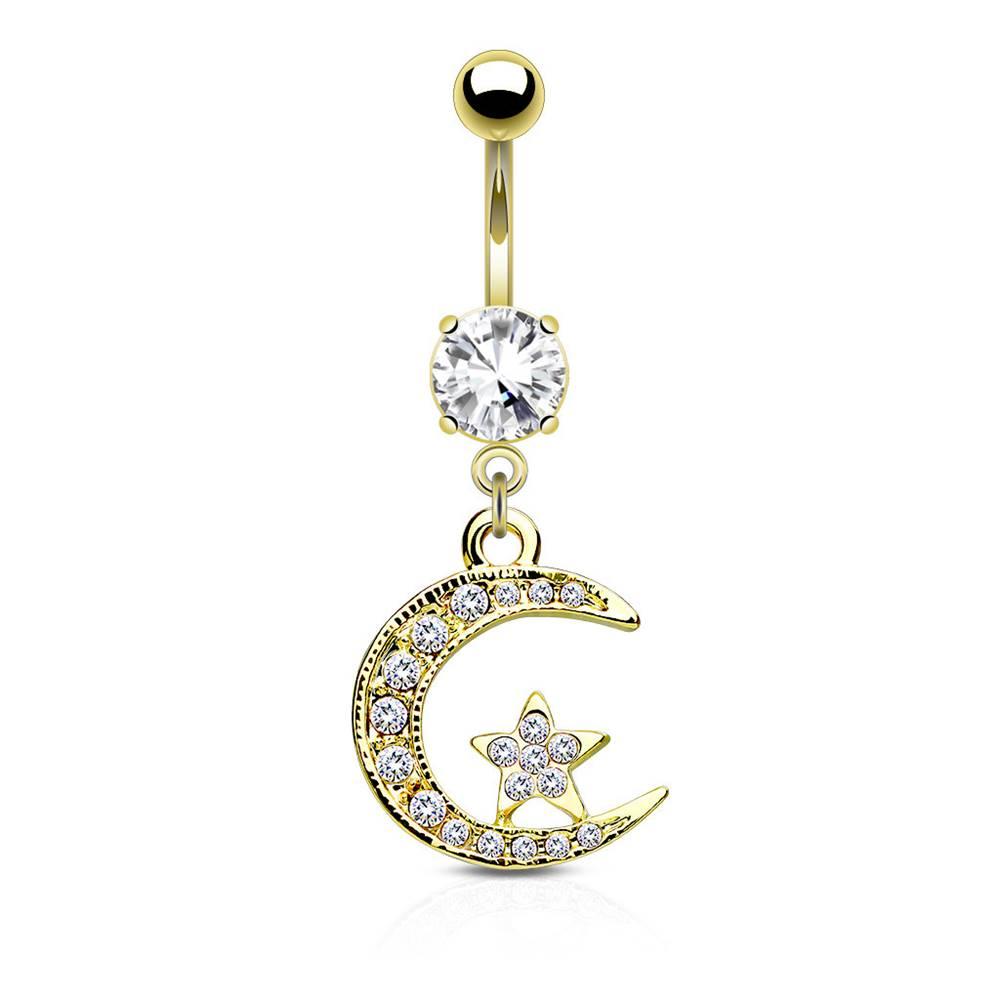 Šperky eshop Oceľový piercing do pupku - mesiačik a hviezdička vykladané zirkónikmi, číry zirkón v kotlíku