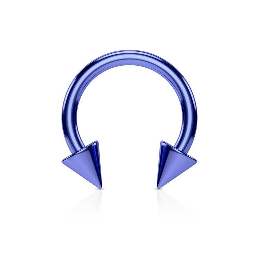 Šperky eshop Piercing do nosa z ocele s titánovým povrchom - podkova v modrom odtieni ukončená hrotmi - Rozmer: 1,2 mm x 8 mm x 3x3 mm