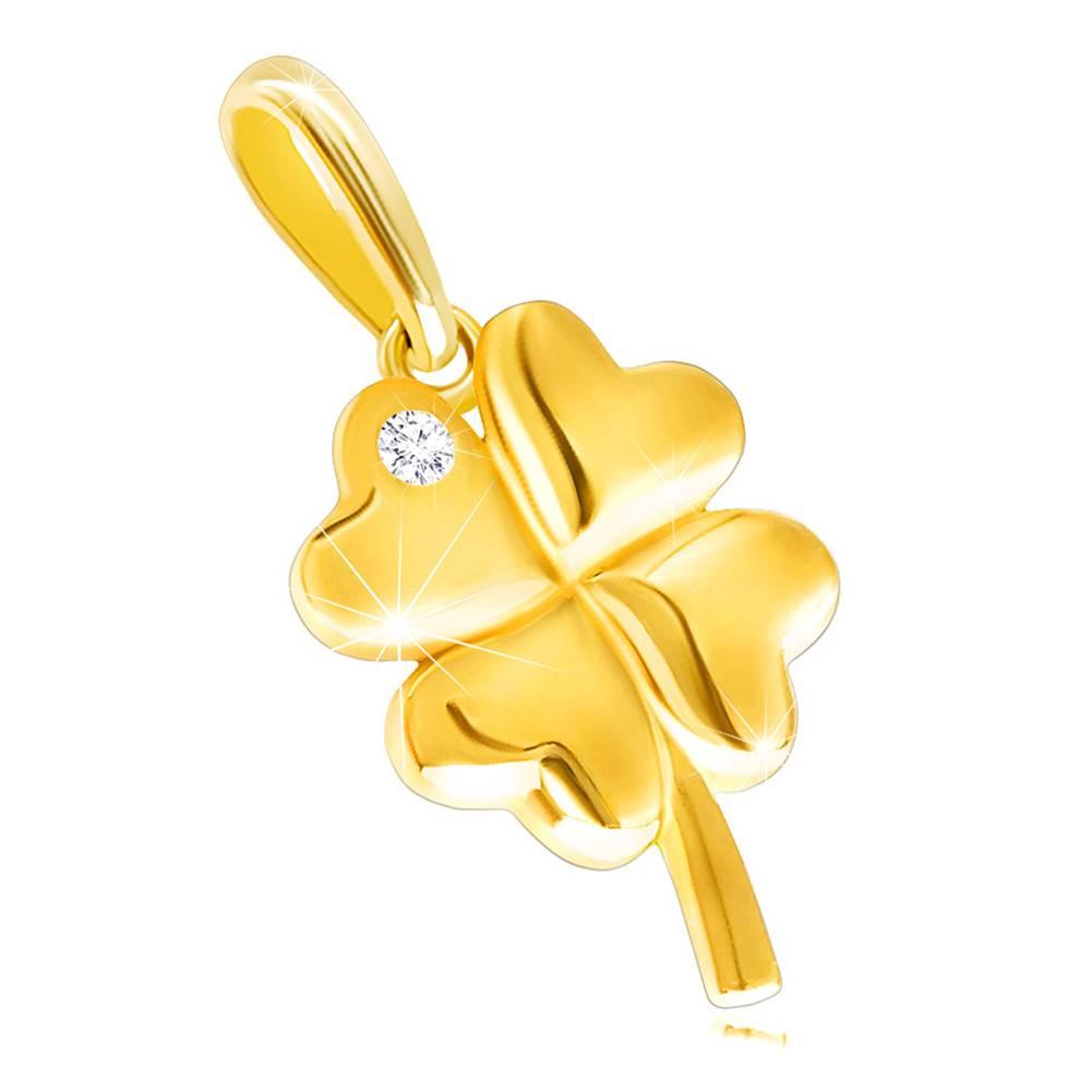 Šperky eshop Prívesok zo žltého 14K zlata - lesklý štvorlístok s okrúhlym ligotavým zirkónikom