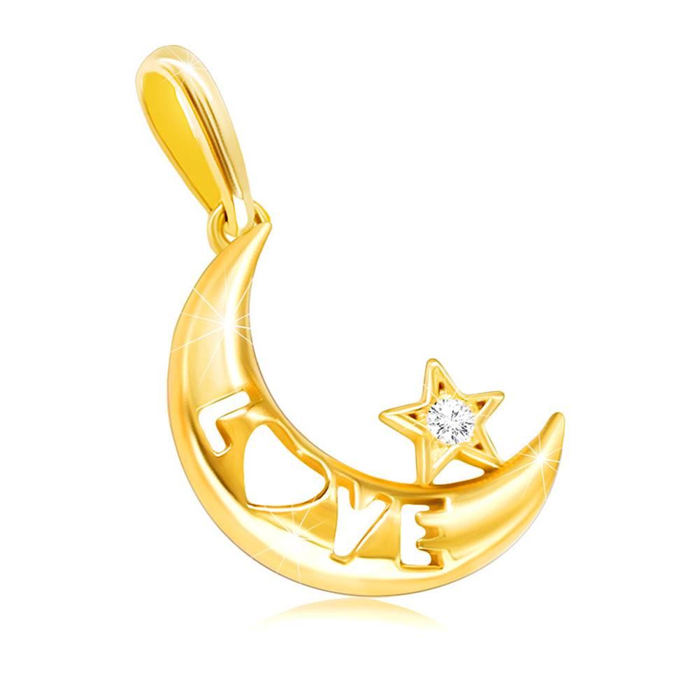 """Šperky eshop Prívesok zo žltého zlata 585 - mesiac s nápisom """"LOVE"""" a čírou zirkónovou hviezdičkou"""
