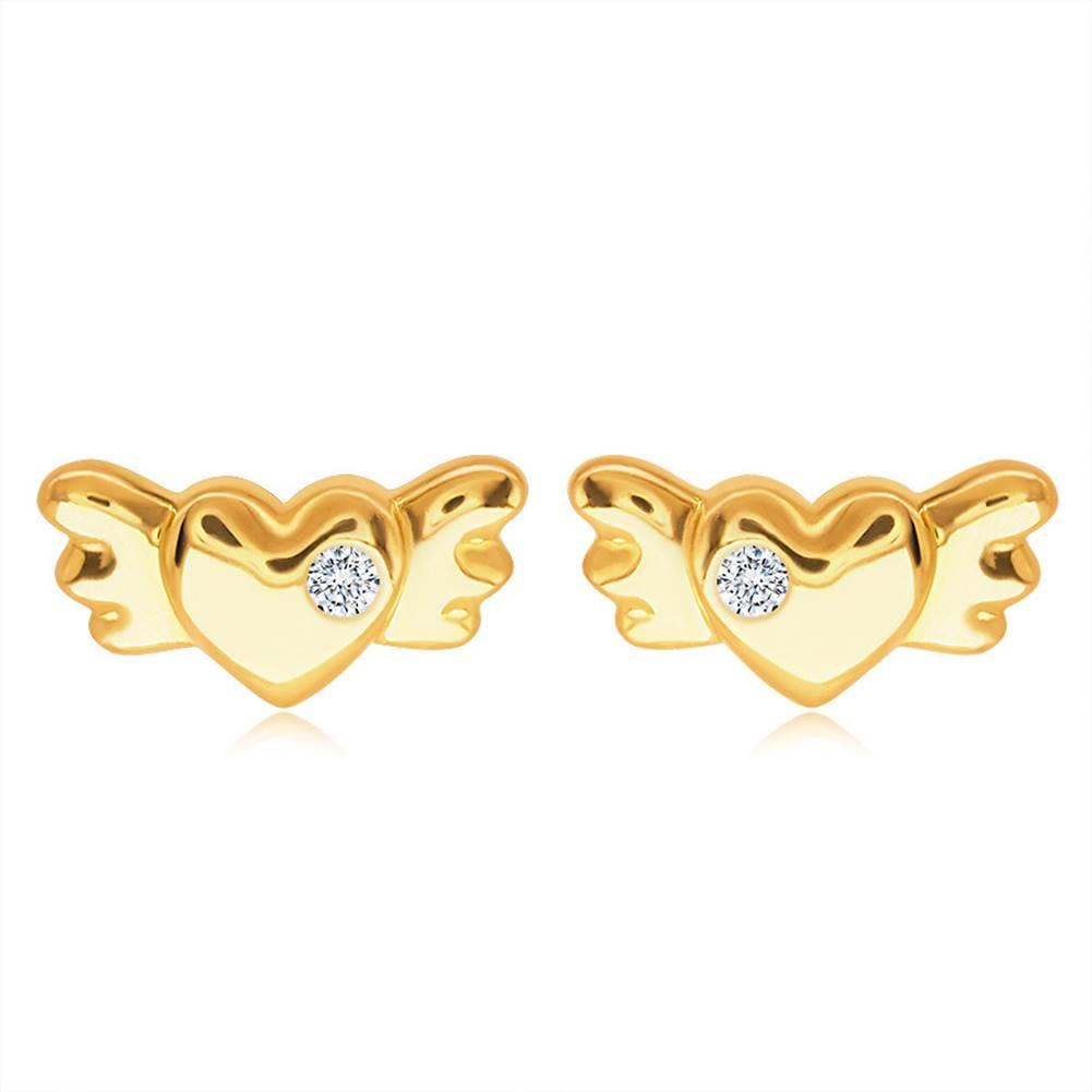 Šperky eshop Puzetové zlaté 14K náušnice - plné symetrické srdiečko s krídlami a čírym zirkónom