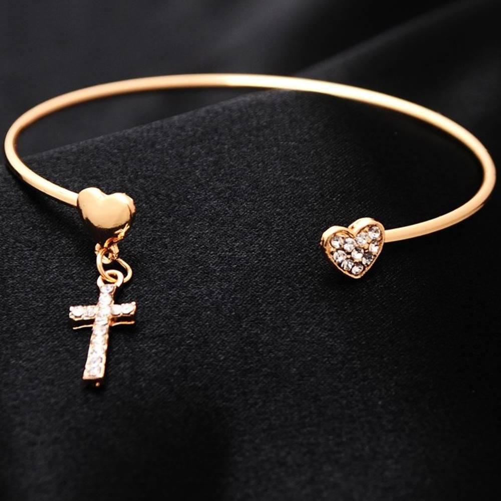 Izmael Náramok Heart Cross - Zlatá