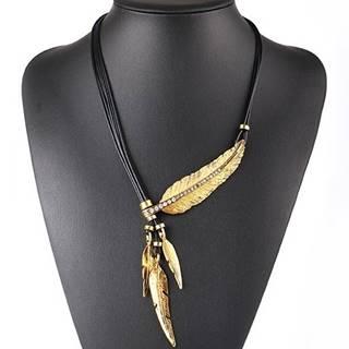 Náhrdelník Three Leaves-Zlatá/Čierna