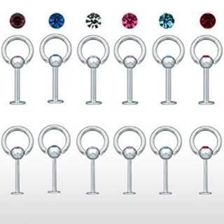 Piercing do brady s hrubou obručou a zirkónom - Hrúbka piercingu: 1,2 mm, Farba zirkónu: Ružová - P