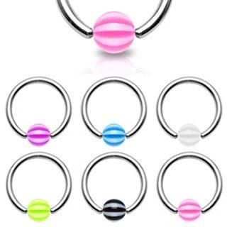 Piercing - krúžok s pásikavou guličkou - Rozmer: 1,2 mm x 10 mm x 4x4 mm, Farba piercing: Ružová