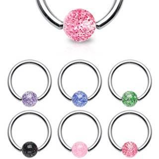 Piercing - oceľový krúžok, trblietavá gulička - Rozmer: 1,2 mm x 10 mm x 4x4 mm, Farba piercing: Zelená