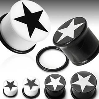 Plug do ucha symbol hviezda - Hrúbka: 10 mm, Farba piercing: Biela