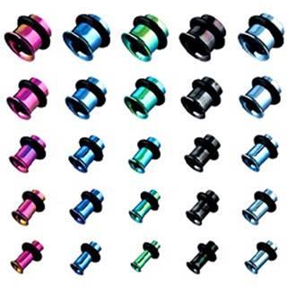 Tunel do ucha z titánu, anodizovaný, viacfarebný s gumičkou - Hrúbka: 10 mm, Farba piercing: Fialová