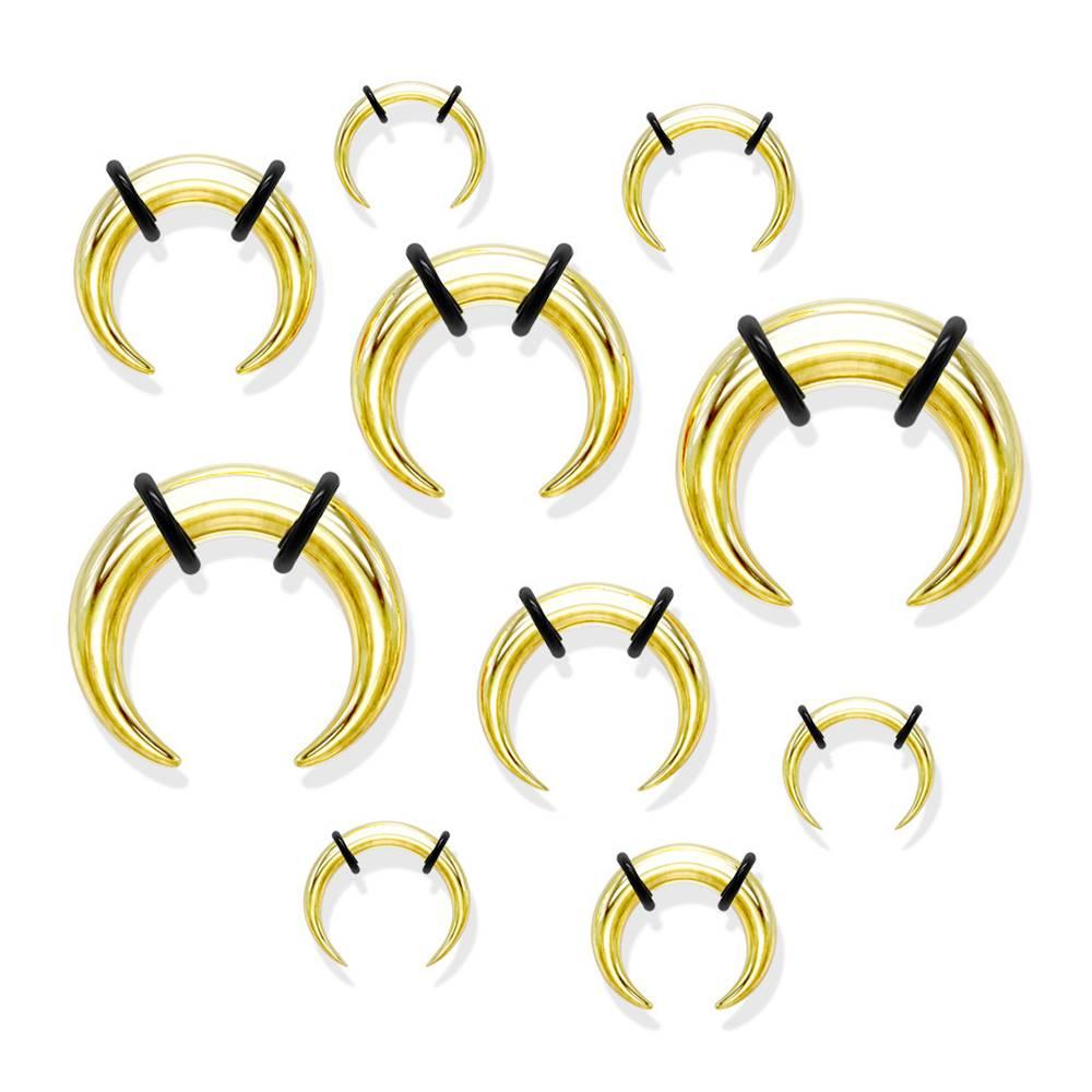 Šperky eshop Oceľový piercing do ucha v štýle buffalo, zlatá farba, čierne gumičky - Hrúbka: 1,6 mm