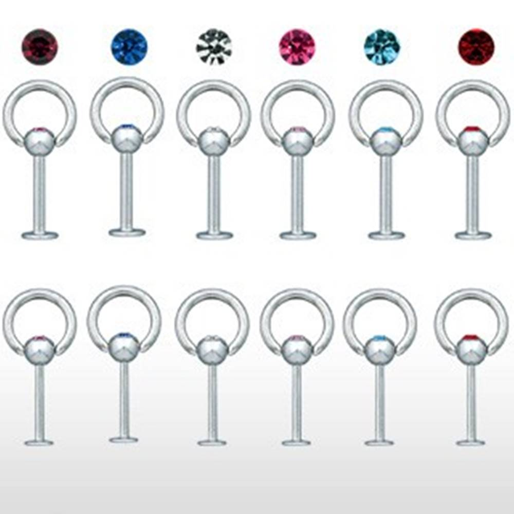 Šperky eshop Piercing do brady s hrubou obručou a zirkónom - Hrúbka piercingu: 1,2 mm, Farba zirkónu: Ružová - P