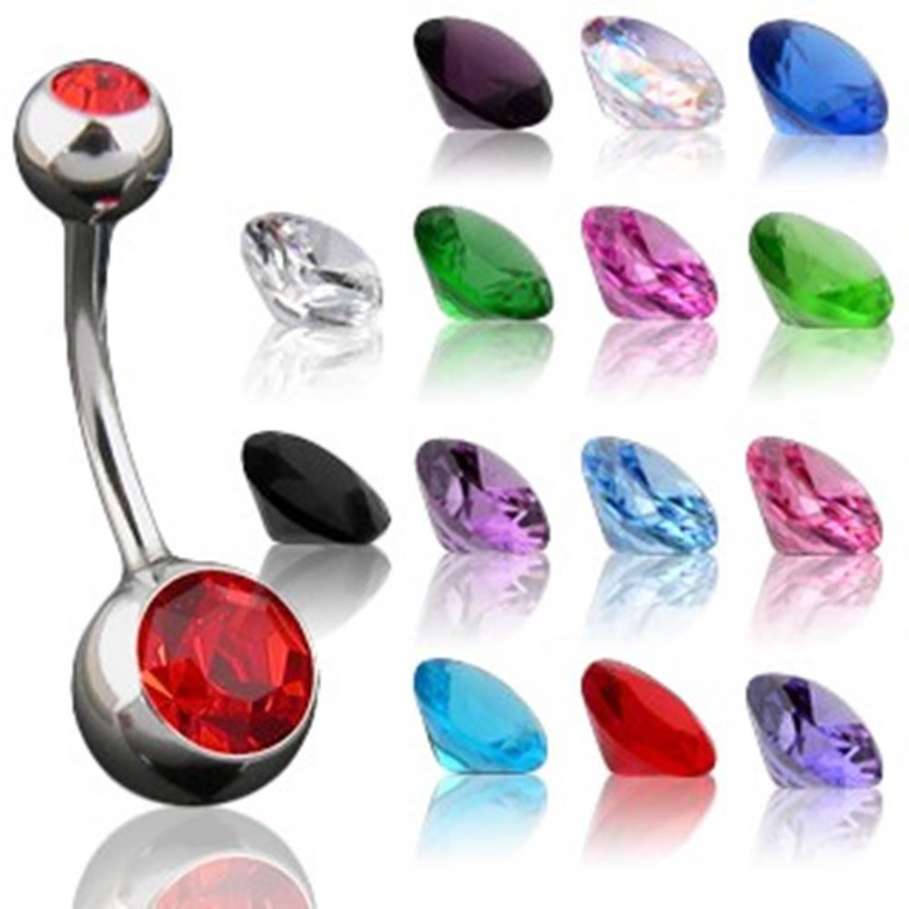 Šperky eshop Piercing do pupka s maličkým a väčším zirkónom - Rozmer: 10 mm x 4x6 mm, Farba zirkónu: Svetlo modrá - LB