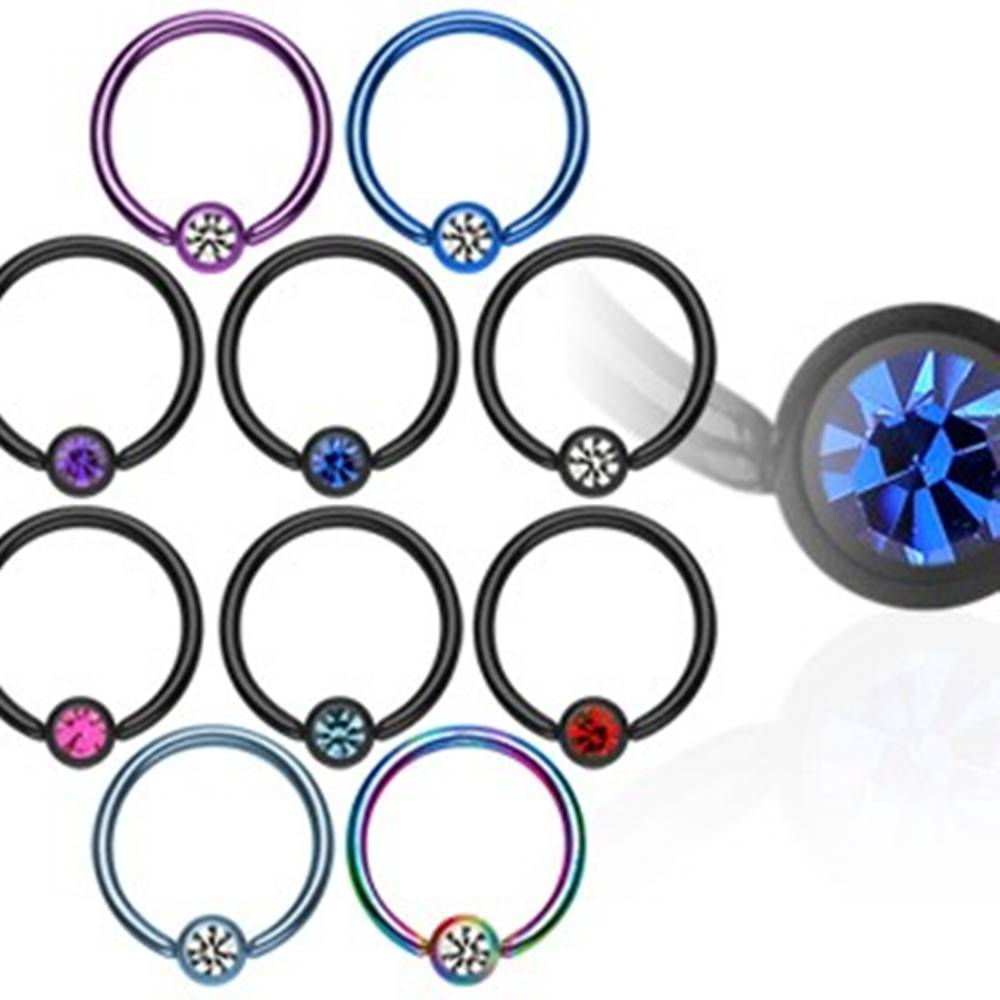 Šperky eshop Piercing krúžok s guličkou z anodizovaného titánu so zirkónom - Hrúbka piercingu: 1,2 mm, Farba zirkónu: Svetlomodrá - číra