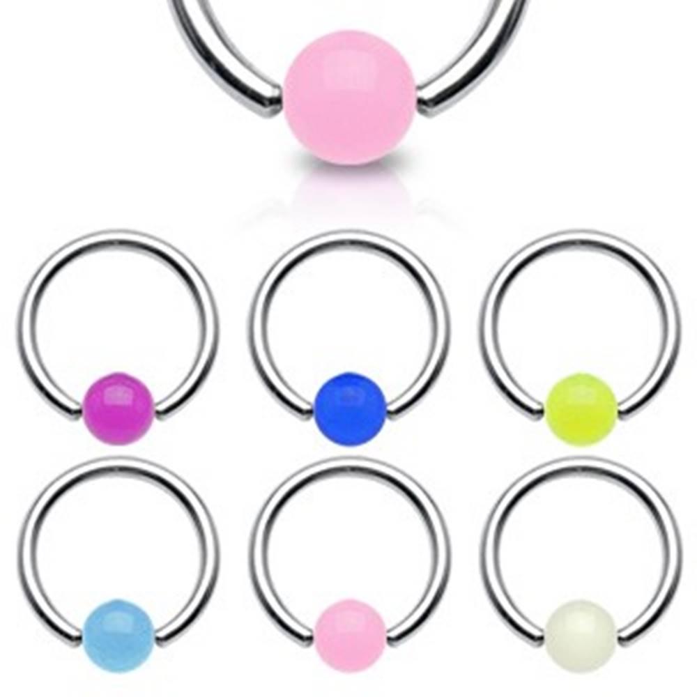 Šperky eshop Piercing - krúžok, žiariaca gulička - Rozmer: 1,2 mm x 10 mm x 4x4 mm, Farba piercing: Ružová
