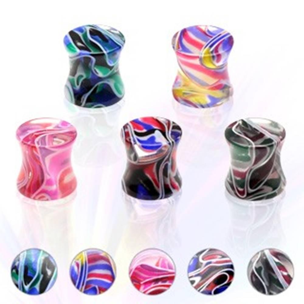 Šperky eshop Plug do ucha UV viac farebný, sedlový, mramorový - Hrúbka: 10 mm, Farba piercing: Fialová - Ružová - AP